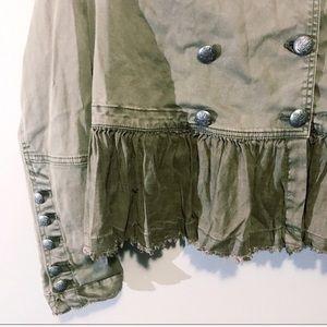 Free People Jackets & Coats - Free People   Green Ruffle Hem Military Jacket Sm